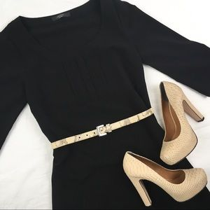 MaxMara Pleated Black Sheath Dresss LBD